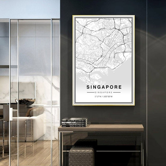 Asia City Map Of Singapore Wall Art Poster Black White Fine Art Canvas Print Travel Office Wall Decor Minimalist Pictures For Modern Home Office Interior Decor