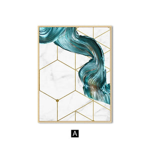 Abstract Swirls Luxury Nordic Wall Art Modern Golden Geometry Marble Paint Splash Fine Art Canvas Prints For Stylish Home Office Interior Decor