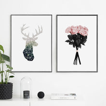 Load image into Gallery viewer, Nordic Minimalist Geometric Wall Art Deer Motif And Roses Bouquet Fine Art Canvas Prints For Modern Office Home Living Room Interior Decor