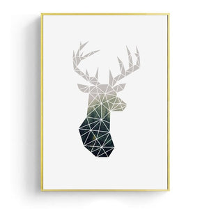 Nordic Minimalist Geometric Wall Art Deer Motif And Roses Bouquet Fine Art Canvas Prints For Modern Office Home Living Room Interior Decor