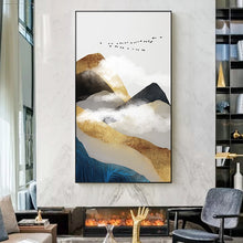 Load image into Gallery viewer, Gold Mountains In The Clouds Abstract Wall Art Posters Fine Art Canvas Prints For Modern Office Or Apartment Pictures For Living Room Decor