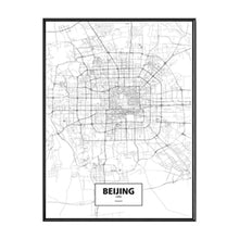 Load image into Gallery viewer, City Wall Map Art Posters Modern City Map Art Abstract Minimalist Black White Canvas Posters Prints Pictures for Modern Home Office Decoration