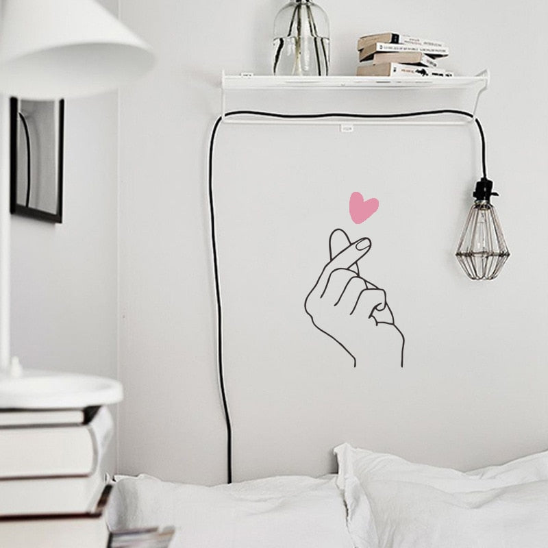 Little Pink Heart Fingertips Romantic Love Gesture Nordic Style Wall Mural Removable PVC Wall Decals For Bedroom Wall Living Room Decor
