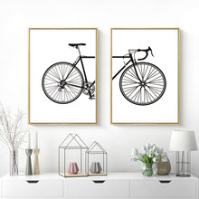 Load image into Gallery viewer, Abstract Minimalist Cycling Poster Wall Art Black and White Nordic Canvas Prints Paintings For Cyclists Pictures For Home Garage