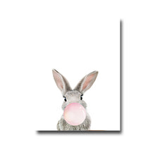 Load image into Gallery viewer, Delightful Furry Animals Blowing Bubblegum Bubbles Cute Nursery Wall Art Canvas Poster Modern Prints For Nursery Kids Room Home Decor