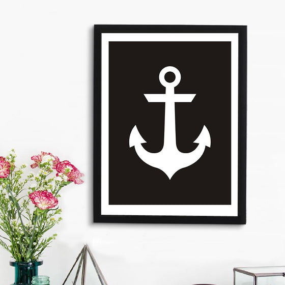 Ships Anchor Sailing Art Poster Black and White Scandinavian Canvas Wall Art Print Modern Paintings for Nautical Home Decor