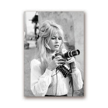 Load image into Gallery viewer, Brigitte Bardot Black & White Photography Movie Star Poster Fashion Icon Fine Art Canvas Prints For Modern Home Interior Decor Studio Wall Art