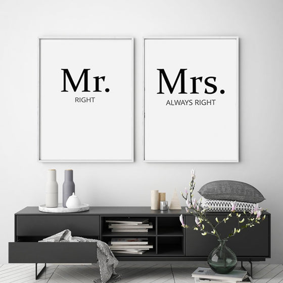 Mr And Mrs Wall Art Posters Black & White Fine Art Canvas Prints Minimalist His And Hers Pictures For Kitchen Bedroom Modern Home Decor