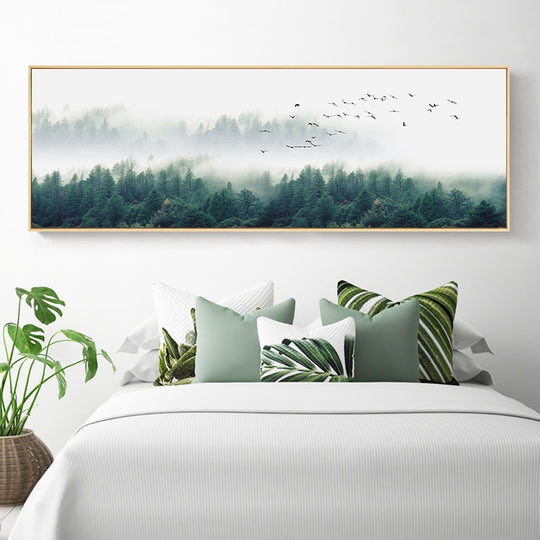 Misty Morning Forest Landscape Wide Format Wall Art Fine Art Canvas Prints Nordic Green Natural Wilderness Posters For Living Room Decor