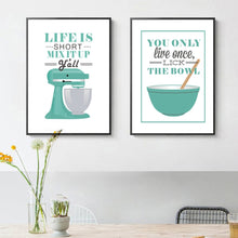 Load image into Gallery viewer, Life Is Short Mix It Up Kitchen Wall Art Posters Stylish Nordic Colorful Simple Canvas Prints For Kitchen Cafe and Modern Home Decor
