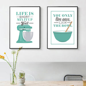 Life Is Short Mix It Up Kitchen Wall Art Posters Stylish Nordic Colorful Simple Canvas Prints For Kitchen Cafe and Modern Home Decor