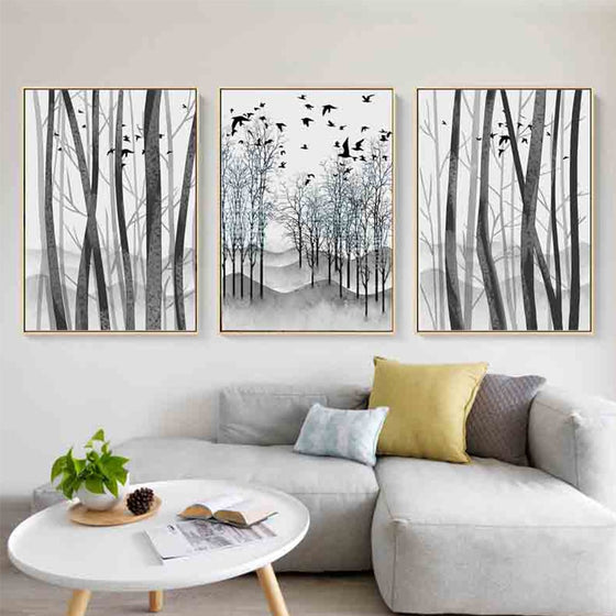 Nordic Woodland Wall Art Silver Birch And Blackbirds Black And White Fine Art Canvas Prints Scandinavian Art For Living Room Dining Room Decor