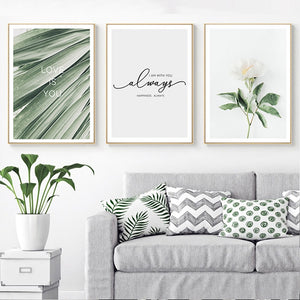 Simple Love Quotations Minimalist Botanical Nordic Wall Art Fine Art Canvas Prints For Modern Scandinavian Style Home Bedroom Decoration