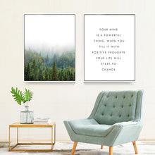 Load image into Gallery viewer, Inspirational Pine Forest Landscape and Positive Quotes For Life Fine Art Canvas Prints Nordic Poster Wall Art For Office Living Room Home Decor