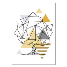 Load image into Gallery viewer, Abstract Geometric Nordic Wall Art Wild Forest Animals Fine Art Canvas Prints Golden Yellow Summer Tones Modern Minimalist Apartment Wall Art Decor