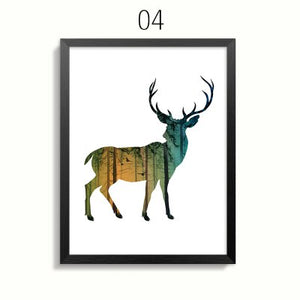 Nordic Abstract Forest Nature Art Posters Animals Paintings Pop Art Animal Pictures Rustic Canvas Prints for Modern Home Decor