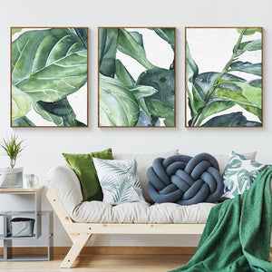 Modern Abstract Tropical Plants Canvas Poster Prints Green Leaves Paintings For Office Conservatory or Living Room Modern Home Decor