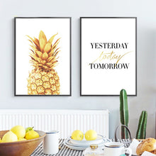 Load image into Gallery viewer, Abstract Gold Pineapple Modern Nordic Minimalist Wall Art Simple Quotes For Life Canvas Art Posters For Kitchen Modern Home Decoration