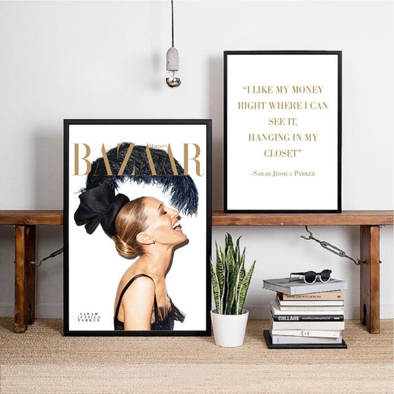 Sarah Jessica Parker Quotation Fashion Magazine Cover Wall Art Beauty Poster Fine Art Canvas Print Pictures For Living Room Bedroom Salon Wall Art Decor