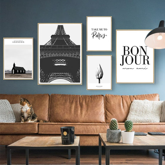 Bonjour Mon Ami Paris Posters Black And White European Travel Themed Wall Art Gallery Nordic Style Pictures For Modern Home Interior Decoration