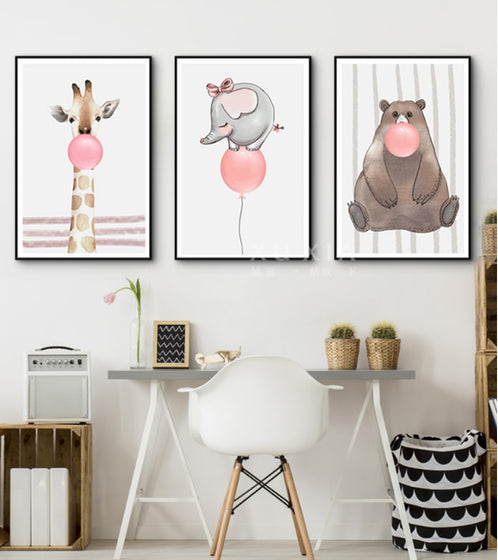 Cute Pink Bubblegum Wild Animals Nursery Wall Art Bear Elephant Giraffe Nordic Style Pictures For Kids Room Modern Home Interior Decoration