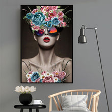 Load image into Gallery viewer, Modern Fine Art Fashion Poster Canvas Wall Art Floral Painting POP Art Fashion Model Poster Home Decor Painting