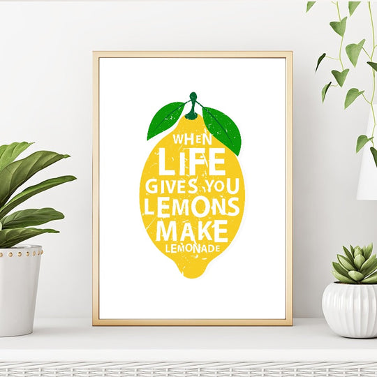 When Life Gives You Lemons Make Lemonades Positive Inspiration Quotes Wall Art Kitchen Decor Canvas Poster Cafe Home Decor