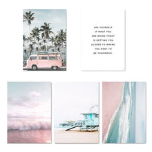 Load image into Gallery viewer, Ocean Landscape Pink Campervan Travel Getaway Beach Life Dreams Fine Art Nordic Prints Canvas Pictures For Modern Living Room Bedroom Decor