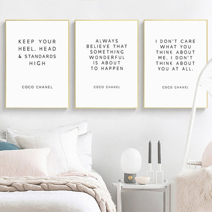 Keep Your Head High Coco Chanel Quotes Wall Art Minimalist Black & White Fine Art Canvas Prints Inspirational Quotations Posters For Modern Home Decor