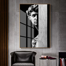 Load image into Gallery viewer, Abstract Renaissance Wall Art Black And White Statue Of David Fine Art Canvas Print Contemporary Pictures For Office Living Room Home Decor