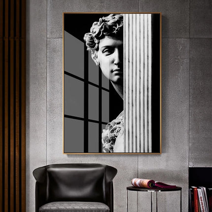 Abstract Renaissance Wall Art Black And White Statue Of David Fine Art Canvas Print Contemporary Pictures For Office Living Room Home Decor