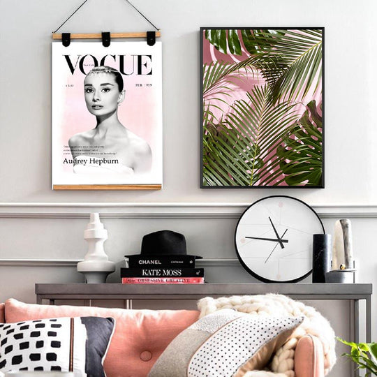 Vintage Audrey Hepburn Vogue Cover Pink Black Nordic Style Green Palm Leaves Fine Art Canvas Prints For Living Room Bedroom Home Decor