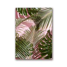Load image into Gallery viewer, Vintage Audrey Hepburn Vogue Cover Pink Black Nordic Style Green Palm Leaves Fine Art Canvas Prints For Living Room Bedroom Home Decor