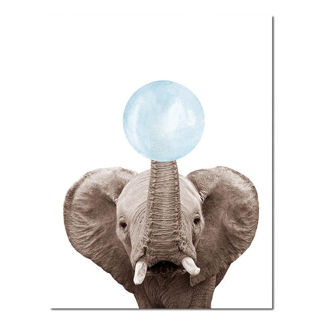 Cute Baby Animals Blowing Blue Bubblegum Nordic Nursery Wall Art Fine Art Canvas Prints Pictures For Kid's Room Baby Boy's Room Cute Wall Art Decoration