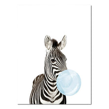 Load image into Gallery viewer, Cute Baby Animals Blowing Blue Bubblegum Nordic Nursery Wall Art Fine Art Canvas Prints Pictures For Kid's Room Baby Boy's Room Cute Wall Art Decoration