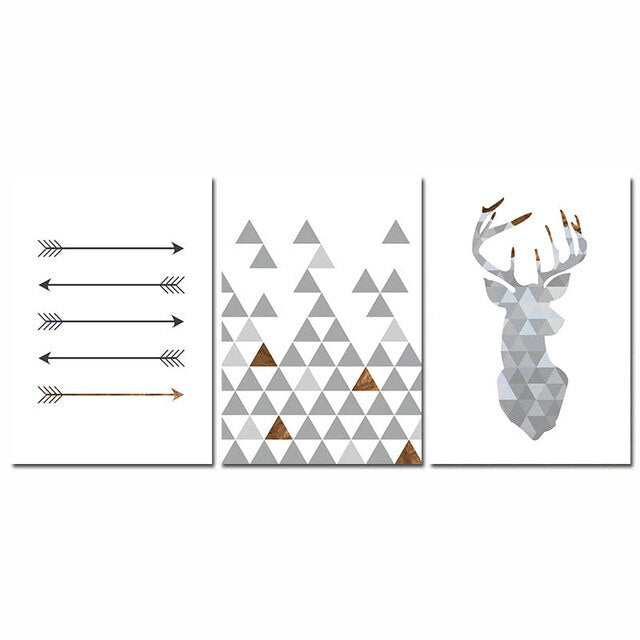 Nordic Minimalist Style Geometric Arrows Triangle Deer Wall Art Fine Art Canvas Prints Scandinavian Abstract Posters For Living Room