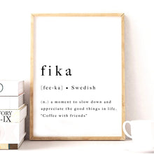 Load image into Gallery viewer, Definition of Fika Swedish Tradition Nordic Wall Art Minimalist Black White Fine Art Canvas Print Modern Pictures For Scandinavian Home Office Interior Decor