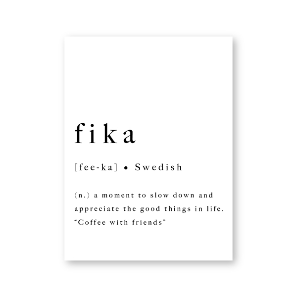 Definition of Fika Swedish Tradition Nordic Wall Art Minimalist Black White Fine Art Canvas Print Modern Pictures For Scandinavian Home Office Interior Decor