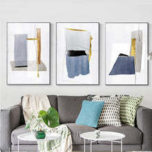 Load image into Gallery viewer, Abstract Architectural Marble Plinths Grey Blue Gold Granite Structure Fine Art Watercolor Canvas Prints Pictures For Modern Home Living Room Decor