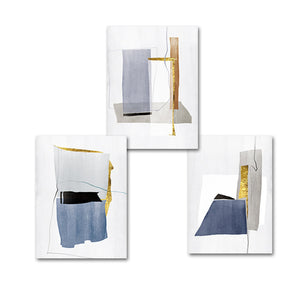 Abstract Architectural Marble Plinths Grey Blue Gold Granite Structure Fine Art Watercolor Canvas Prints Pictures For Modern Home Living Room Decor