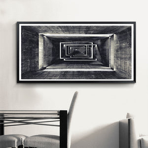 Abstract Architectural Abyss Black And White Wall Art Fine Art Canvas Prints Modern Pictures For Living Room Office Contemporary Home Decor