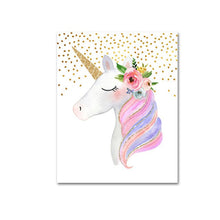 Load image into Gallery viewer, Cute Pink Unicorn Nursery Wall Art With Custom Name Personalization Fine Art Canvas Prints Modern Nordic Pictures For Girls Bedoom