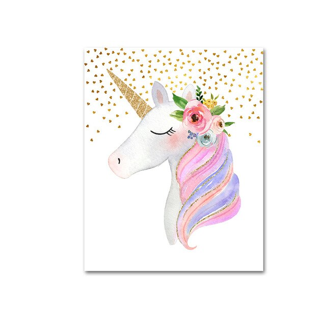 Cute Pink Unicorn Nursery Wall Art With Custom Name Personalization Fine Art Canvas Prints Modern Nordic Pictures For Girls Bedoom