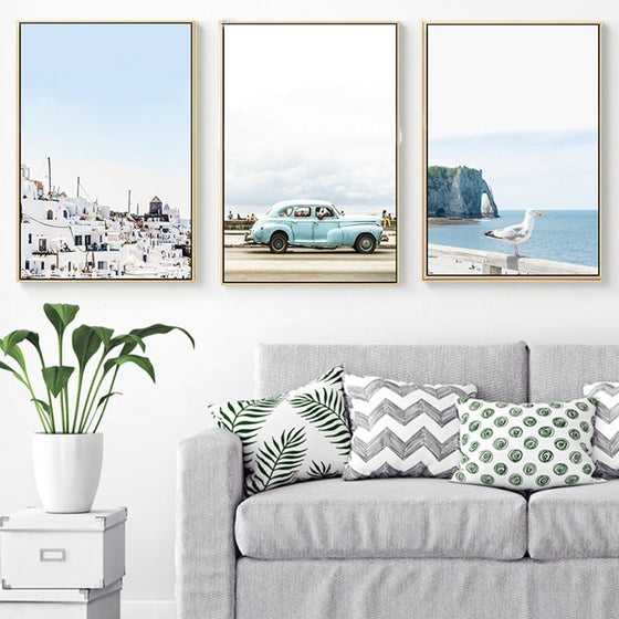 Blue Sky Travel Posters Ocean Seascape Holiday Theme Wall Art Canvas Prints Paintings For Salon Boutiques And Modern Home Decoration