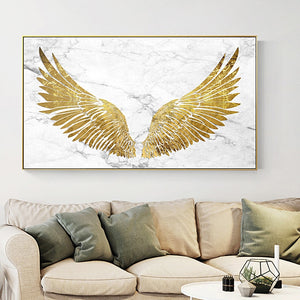 Luxurious Golden Wings On Marble Background Wall Art Fine Art Canvas Prints Glamorous Pictures For Living Room Bedroom Home Decor