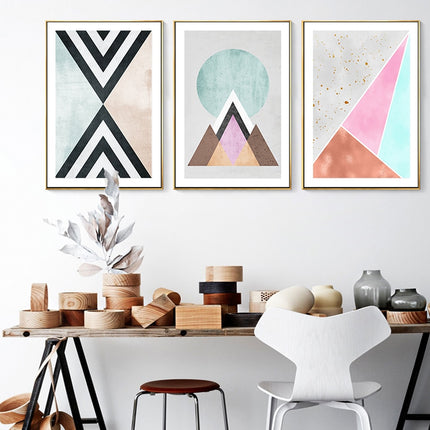 Colorful Modern Abstract Geometric Nordic Wall Art Fine Art Canvas Prints Scandinavian Style Contemporary Art For Living Bedroom Home Decor