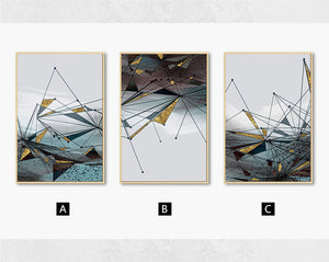 Abstract Geometrical Landscape Contemporary Wall Art Blue Gray Jade Textured Gold Effect Nordic Fine Art Canvas Prints For Modern Interiors