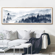 Load image into Gallery viewer, Misty Mountain Forest Landscape Widescreen Wall Art Nordic Style Fine Art Canvas Prints Pictures For Modern Scandinavian Home Interior Decoration