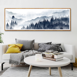 Misty Mountain Forest Landscape Widescreen Wall Art Nordic Style Fine Art Canvas Prints Pictures For Modern Scandinavian Home Interior Decoration