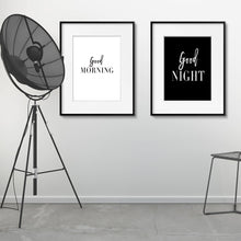 Load image into Gallery viewer, Good Morning Good Night Black White Minimalist Quotation Wall Art Simple Word Art Fine Art Canvas Prints Pictures For Nordic Style Bedroom Home Decor